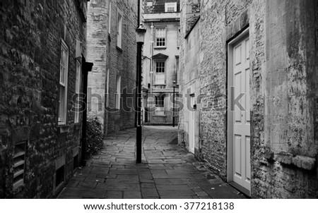 Lonely Dark Alley - stock photo