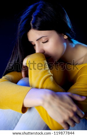 lonely desperate sad beautiful woman with bruises and wound domestic violence rape - stock photo