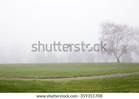 Lonely feeding house for birds. Naked trees on the field in the fog. Late fall. Virginia USA - stock photo