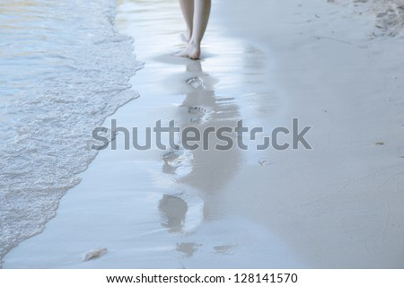 Lonely footmark on thel beach - stock photo
