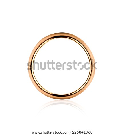 Lonely golden wedding ring isolated in the closeup - stock photo