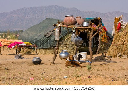 Lonely house in the desert near Pushkar, India