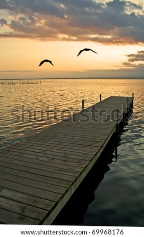 lonely lake - stock photo