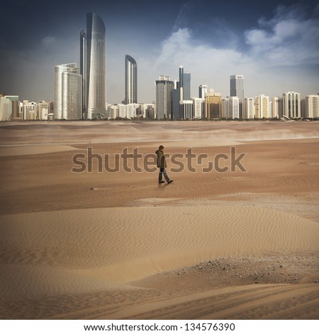 lonely man in the ry desert