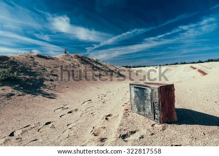lonely old TV - stock photo