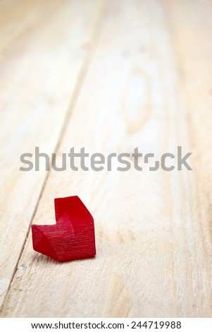 Lonely red 3d printed heart waiting for Valentine template - stock photo