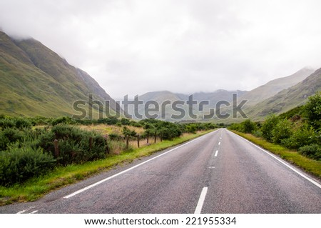 lonely road in the scottish highlands