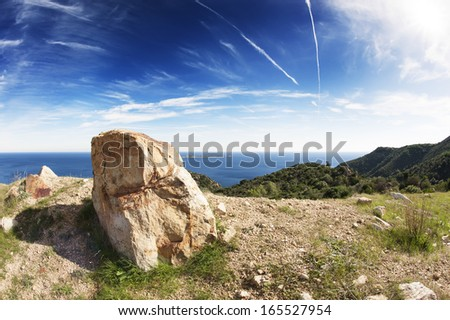 Lonely rock in a seascape - stock photo