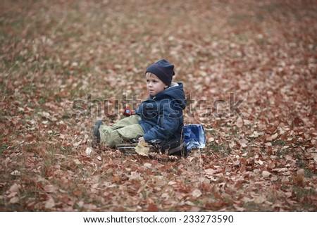 Lonely sad boy sitting in autumn foliage - stock photo