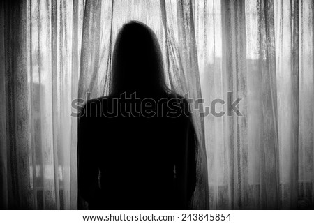 Lonely sad woman in distress - stock photo