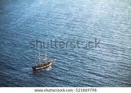 Lonely schooner in the sea