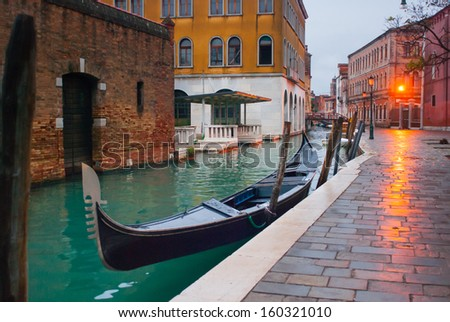 Lonely street in Venice at night - stock photo