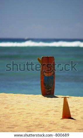 Lonely surfboard - stock photo