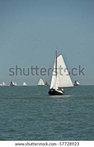 Lonely traditional netherlands sailing boat - stock photo