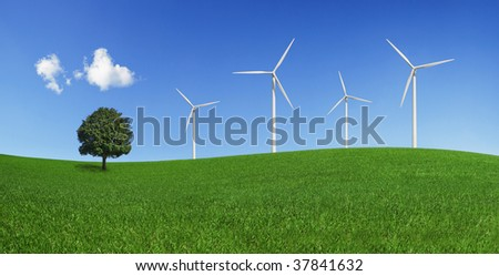 Lonely tree and wind turbines on a green field. Green energy and environmental conservation symbols (XXXLarge). - stock photo