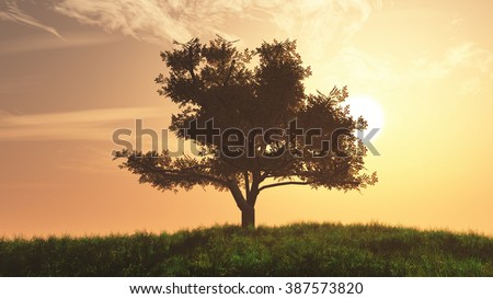 Lonely Tree on Summer Field in the Sunset Sunrise 3D Illustration - stock photo