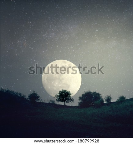 Lonely tree top of hill and moonrise - stock photo