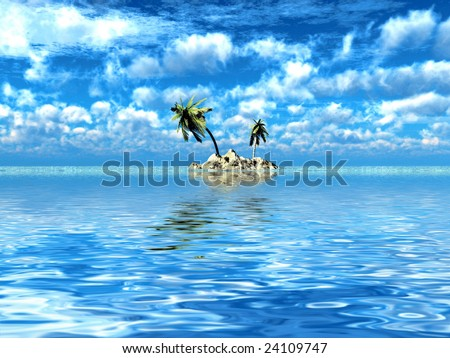 lonely Tropical island seascape background 3d - stock photo
