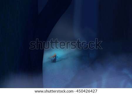 Lonely woman in a dress with a flashlight in a dark night walks wild forest fairy among the giant trees in the moonlight