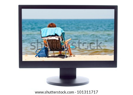 lonely woman on the beach at TV screen