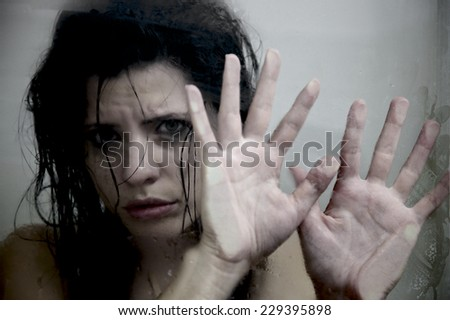 Lonely woman scared about domestic violence - stock photo