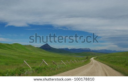Lonesome road along lakes and Rocky Mountains, Montana