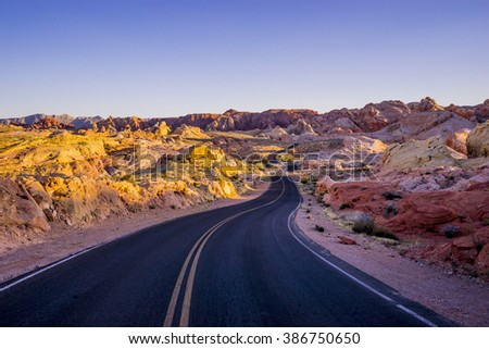Lonesome road through the Valley of Fire