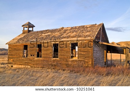 Long abandoned one-room schoolhouse in rural America