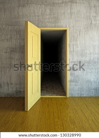 Long and dark corridor behind a door - stock photo