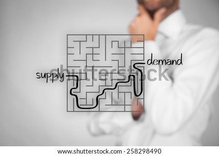 Long and difficult way from company supply to successful customers demand. Marketing product specialist plan new product.  - stock photo