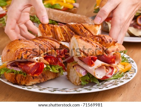 long  baguette sandwich with meat, vegetables and cheese - stock photo