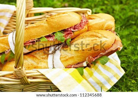 Long baguette sandwiches with salami, prosciutto and arugula for picnic - stock photo