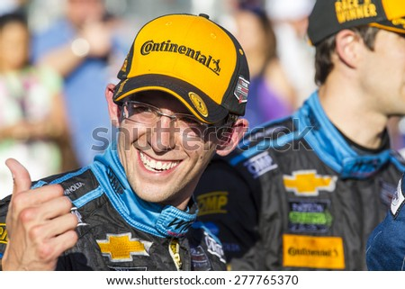 Long Beach, CA - Apr 18, 2015:  Ricky and Jordan Taylor are all smile after winning the Tequila Patron Sports Car Racing Showcase at Long Beach Grand Prix in Long Beach, CA. - stock photo