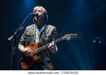 LONG BEACH, CA - AUG 15: Trey Anastasio of Phish performs at the Long Beach Arena on August 15, 2012 in Long Beach, California. - stock photo