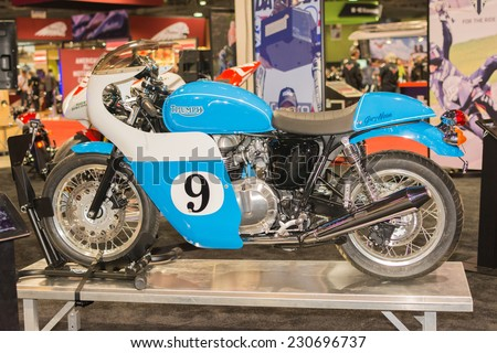 Long Beach, CA - November 13, 2014: Triumph Thruxton Gary Nixon Edition on display at the International Motorcycle Show