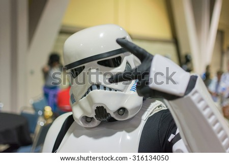 Long Beach, CA - USA - September 12, 2015: Star Wars  Storm Trooper costume at The Long Beach Comic Con held at the Long Beach Convention Center. - stock photo
