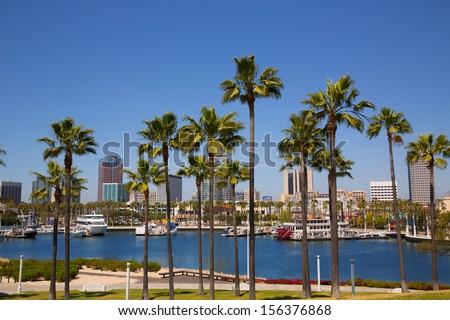 Long Beach California skyline with palm trees from marina port USA - stock photo