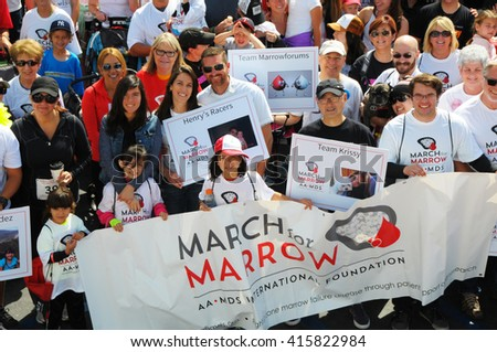 Long Beach, California/USA-April 30, 2016: People banner at the March for Marrow 5k Race