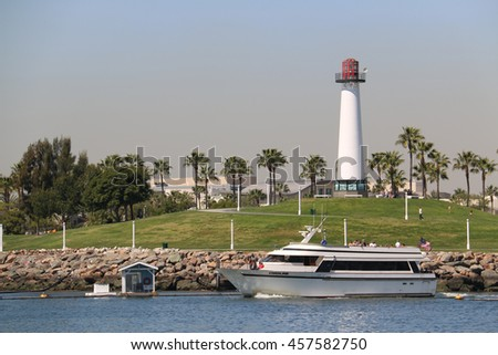 Long Beach, California, USA - March 16, 2016: The Caroline of Harbor Breeze Cruises, used for wedding and private parties, takes tourists to travel around the harbor.