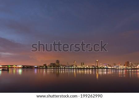Long Beach cityscape at night - stock photo