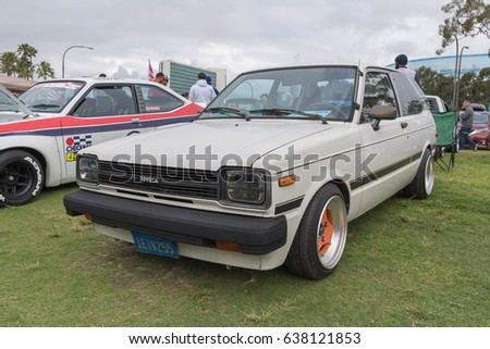Long Beach, USA   May 6 2017: Toyota Starlet 1982 On Display During The