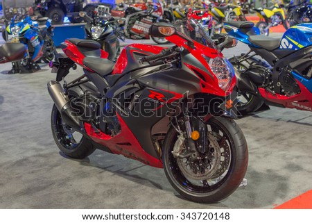 Long Beach, USA - November 20, 2015: Suzuki GSX R on display during Progressive International Motorcycle Show.