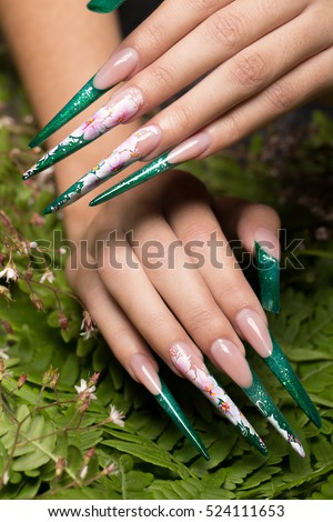 Long beautiful manicure with flowers on female fingers. Nails design. Close-up.