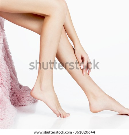 long beautiful woman legs . beautiful smooth skin. depilation - stock photo