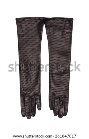 long black leather gloves on a white background