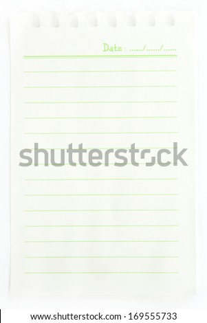 Long blank  note book vertical