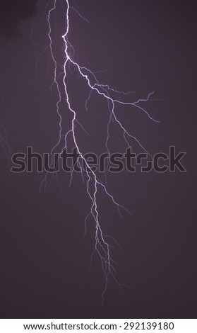 Long bolt of lightning during an electrical storm