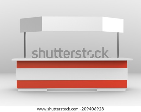 long booth or kiosk with banner isolated. render - stock photo