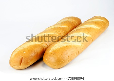 long bread isolated on white background