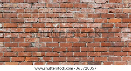 Long brick wall background - an old red brick wall with lots of character. Ideal urban modeling background for fashion or pop music industry. Also ideal background for sign; poster or street name.